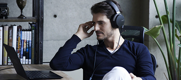 Sony MDR-Z7 High-Resolution Audio Headphones in use