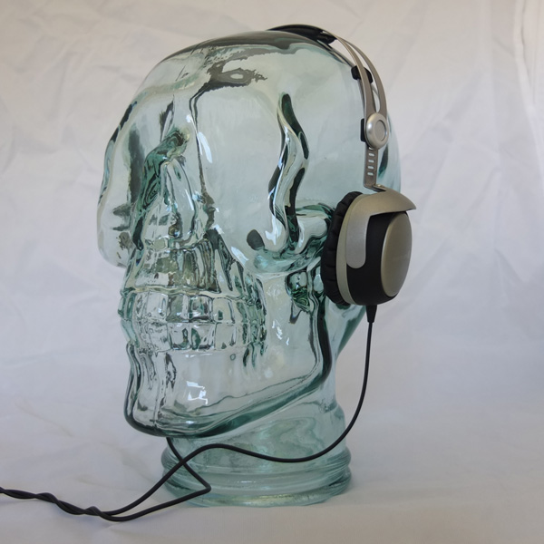 Image of AMP3 Luxury Glass Skull Headphones Stand Colour BRONZE