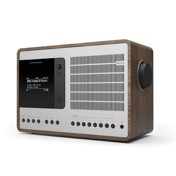 Revo SuperConnect Aluminium and Walnut Wood Deluxe Table Radio with DAB / DAB+ FM / Internet Radio, Spotify Connect