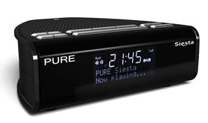Pure Siesta DAB FM Bedside Clock Radio Colour BLACK