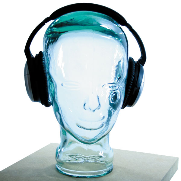Compare prices for AMP3 Luxury Glass Head Headphones Stand Colour BLUE